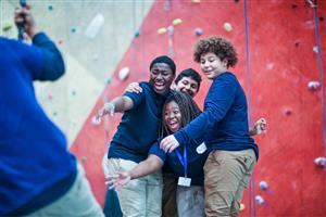 Englewood STEM High School students develop their teamwork skills at Brooklyn Boulders